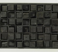 Ancient Secrets II, 1964 - Black painted wood, h 90cm 140 x 15 cm. Courtesy Cardi Gallery
