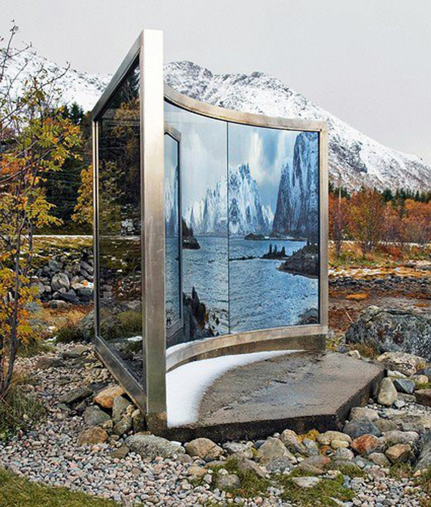 """Dan Graham, """"Two-way Mirror Triangle with One Curved Side"""", 1996 Two-way mirror. stainless steel 99 x 118 in. / 250 x 300 cm Installation """"Artscape Nordland"""" Lofoten Islands, Norway Courtesy: Marian Goodman Gallery;"""