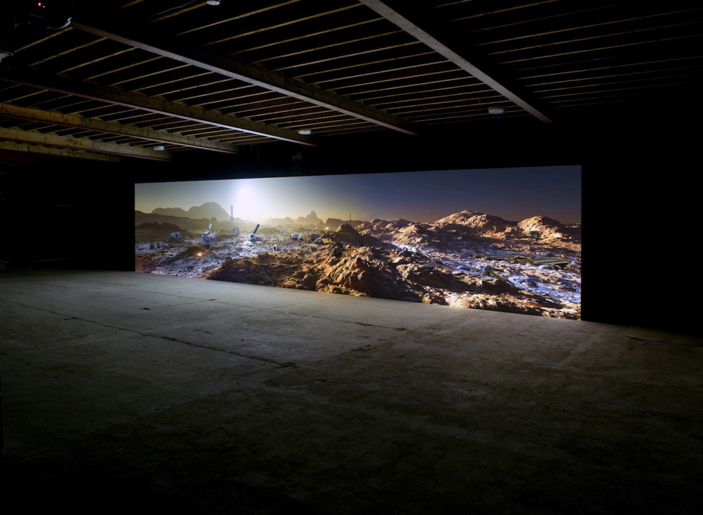 Kelly Richardson Mariner 9 2012 3-channel HD video installation 43' x 9' (variable) with 5.1 audio